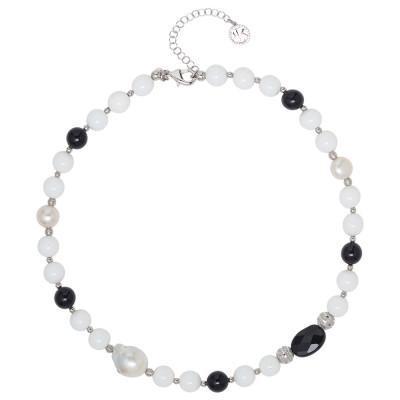 Collana con perle naturali, ossidiana e agata bianca