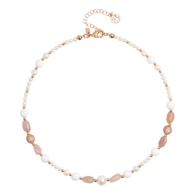 Collana corta con perle naturali, quarzo rosa e agata bianca
