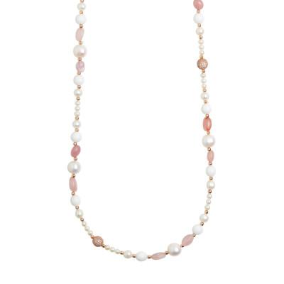 Collana lunga con perle naturali, quarzo rosa e agata bianca