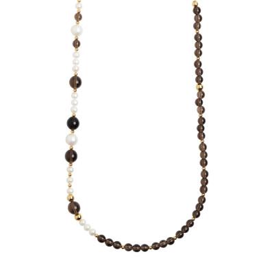 Collana lunga con quarzo fumè e perle naturali