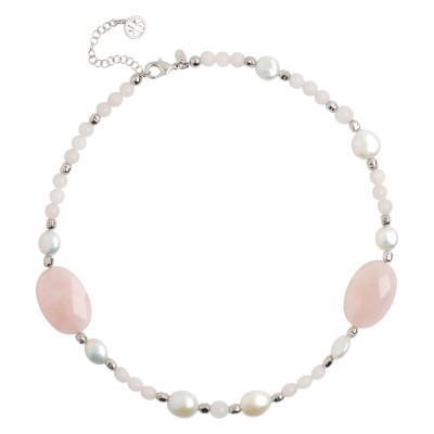 Collana con perle naturali e quarzo rosa sfaccettato
