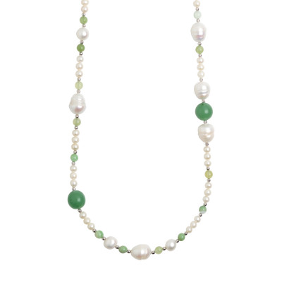Collana lunga con perle naturali ed avventurina