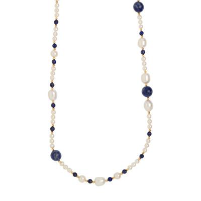 Collana lunga con perle naturali, sodalite e lapislazzuli