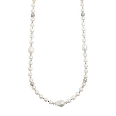 Collana lunga con perle naturali e sfere dall'effetto diamantato