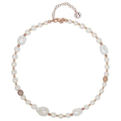 Collana placcata oro rosa con perle naturali e sfere dall'effetto diamantato