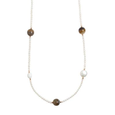 Collana lunga con perle naturali, agata mix brown e agata bianca