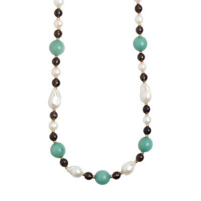 Collana lunga con perle naturali, quarzo fumè e amazzonite