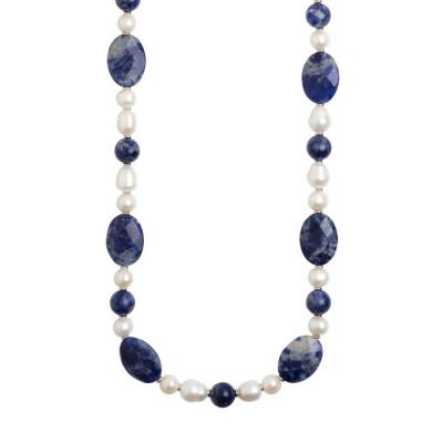 Collana lunga con perle naturali e sodalite