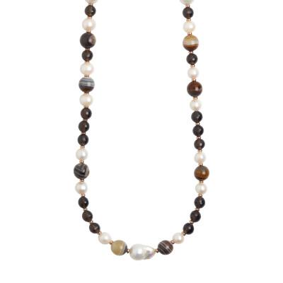 Collana lunga con perle naturali, agata mix brown e quarzo fumè