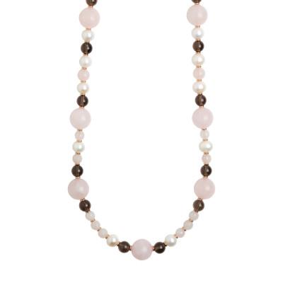 Collana lunga con perle naturali, quarzo fumè e quarzo rosa
