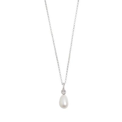 Collana corta con pendente di zirconi e perla barocca