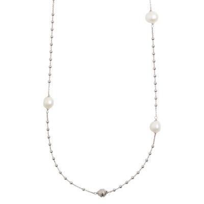 Collana lunga modello rosario con perle naturali