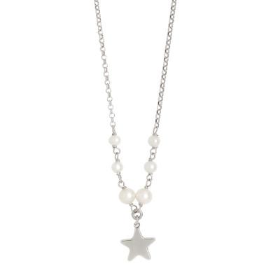 Collana con perle naturali e stella centrale