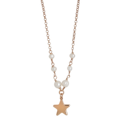 Collana placcata oro rosa con perle naturali e stella centrale