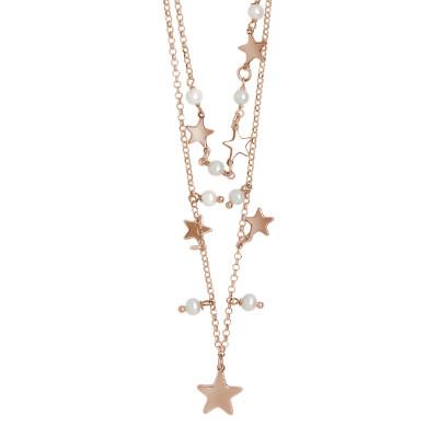 Collana due fili placcata oro rosa con stelle e perle naturali pendenti