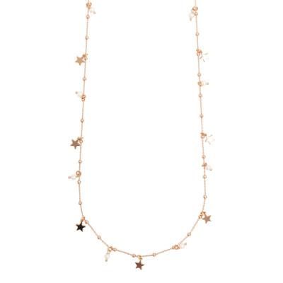 Collana lunga placcata oro rosa con perle naturali e stelline pendenti.