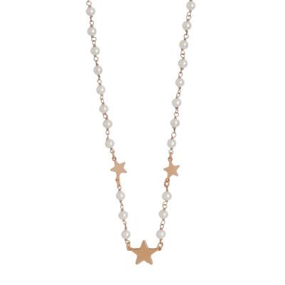 Collana placcata oro rosa con perle naturali e tre stelle