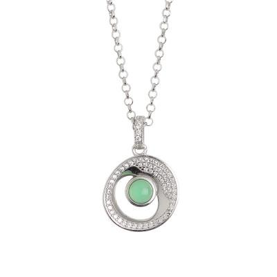 Collana corta con pendente eclissi di luna e cristallo verde acqua