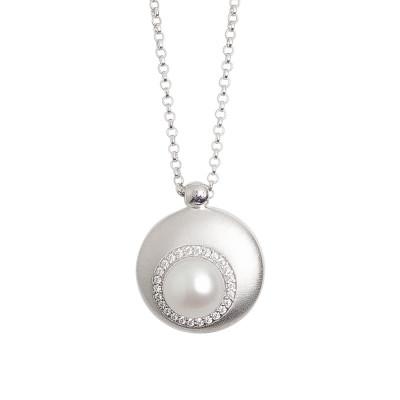 Collana con pendente convesso eclissi di luna e perla naturale