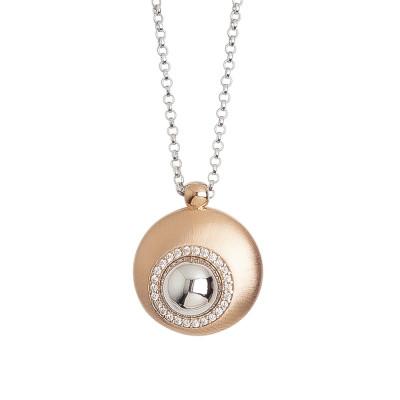 Collana con pendente convesso eclissi di luna placcato oro rosa