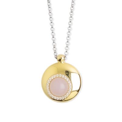 Collana con pendente centrale eclissi di luna e cristallo color quarzo rosa
