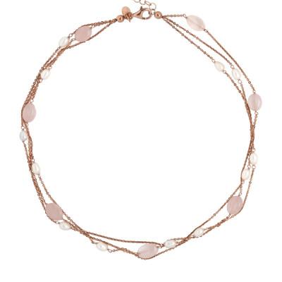 Collana multifilo con perle naturali e quarzo rosa