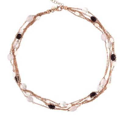 Collana multifilo con perle naturali, granato, quarzo rosa e cristallo di rocca
