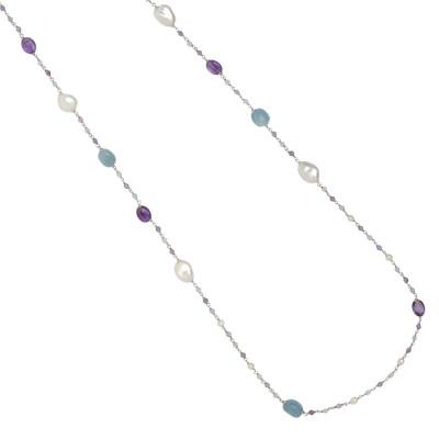 Collana lunga con perle naturali, ametista e acquamarina