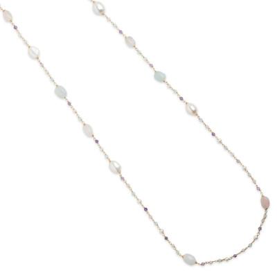 Collana lunga con perle naturali, ametista, acquamarina, quarzo rosa e morganite pink