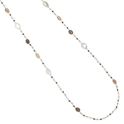 Collana lunga con perle naturali, quarzo fumè, pietra di luna e spinello