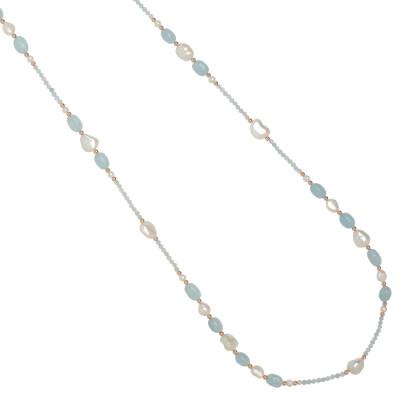 Collana lunga con perle naturali e acquamarina