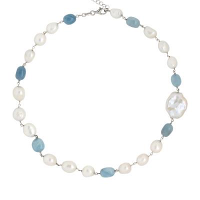 Collana con perle scaramazze e acquamarina