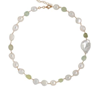 Collana con granato verde rutilato e perle scaramazze