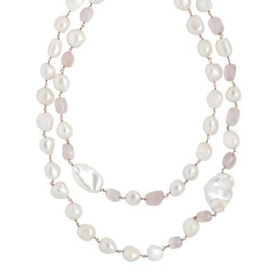 Collana doppio filo con perle scaramazze e quarzo rosa