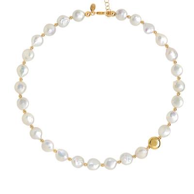 Collana con perle naturali a bottone ed elemento placcato oro giallo