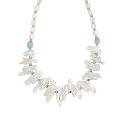 Collana con perle barocche unite, perle scaramazze e acquamarina