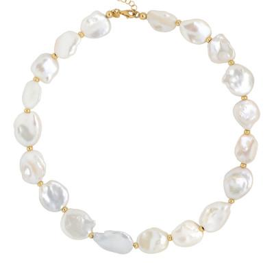 Collana placcata oro giallo con perle keshi