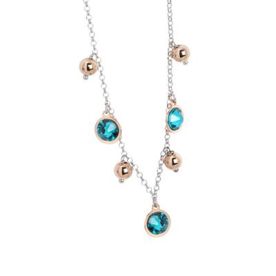 Collana bicolor con cristalli Swarovski blue zircon