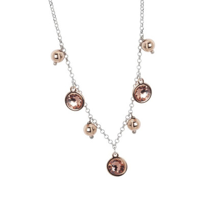 Collana bicolor con cristalli Swarovski blush rose