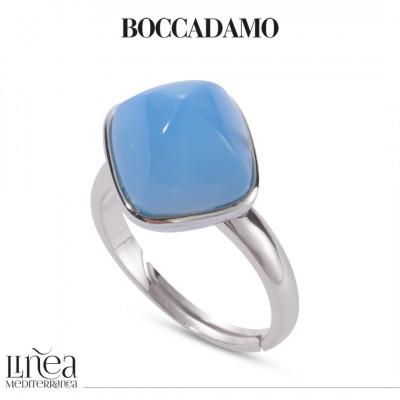 Anello con cristallo piramidale color agata blu