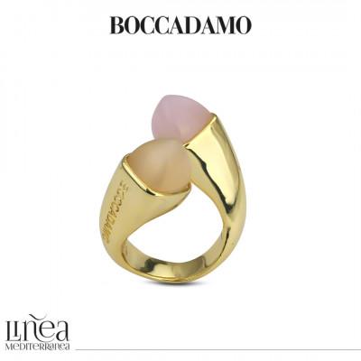 Anello contrariè con cristalli quarzo rosa e pietra di luna