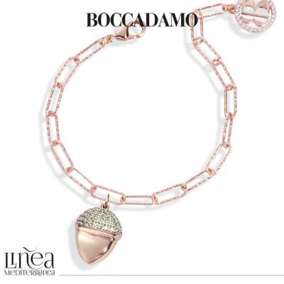Bracciale placcato oro rosa con pendente piramidale maxi e pavè di zirconi