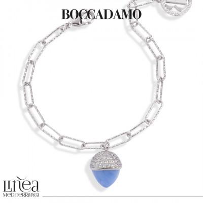 Bracciale con cristallo maxi color calcedonio azzurro