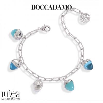 Bracciale con cristalli color amazzonite e acquamarina e zirconi