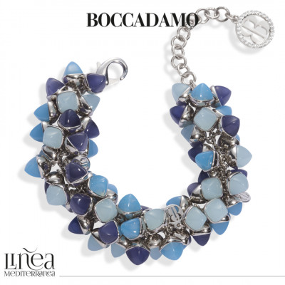 Bracciale con decoro di cristalli dai colori acqua milk, agata blu e tanzanite