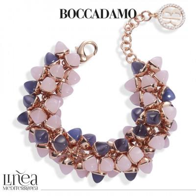 Bracciale con decoro di cristalli dai colori quarzo rosa e tanzanite