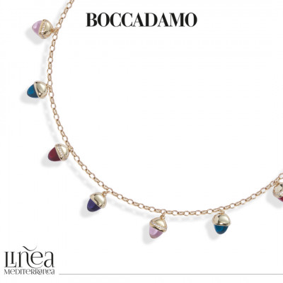 Collana con cristalli piramidali color ametista, rubino, smeraldo e morganite