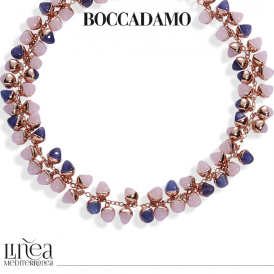 Collana con decoro di cristalli piramidali color quarzo rosa e tanzanite