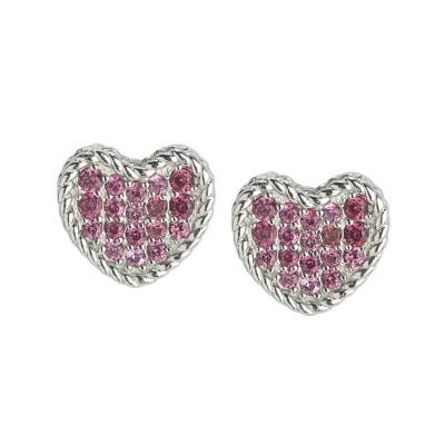 Orecchini rodiati a cuore con zirconi rosa
