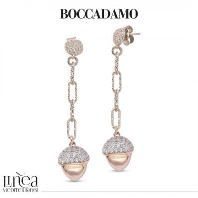 Orecchini pendenti con elemento piramidale placcato oro rosa e zirconi